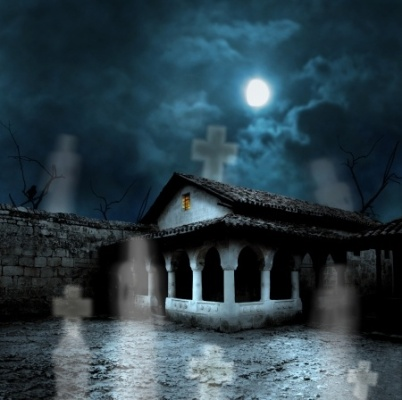 Frightening House In Moonlight