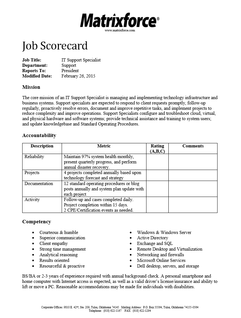 IT Specialist Job Scorecard